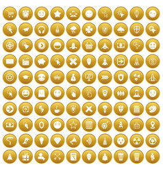 100 interface pictogram icons set gold vector image