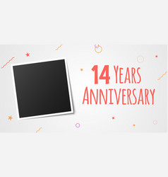 14 years anniversary photo frame card 14th year vector image
