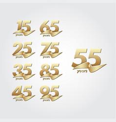 55 years anniversary celebration gold ribbon vector