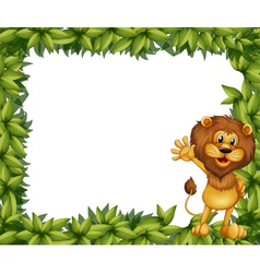 A green leafy border with a lion vector