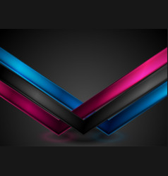abstract bright glossy arrows on black background vector image