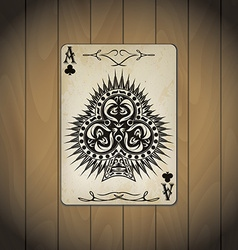 Ace clubs poker cards old look varnished wood vector