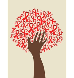 AIDS ribbon hand tree vector