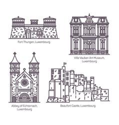 Architecture landmarks luxemburg in thin line vector