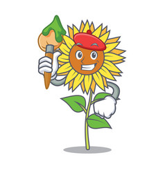 artist sunflower character cartoon style vector image