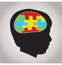 Autism Awareness Silhouette and Brain vector