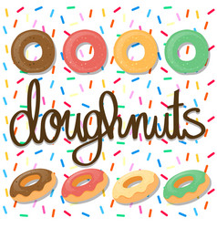 Background design with doughnuts vector