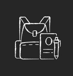 backpack chalk white icon on dark background vector image