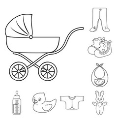 Birth of a baby outline icons in set collection vector