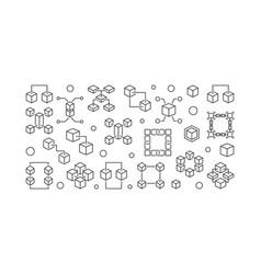 blockchain outline horizontal minimal vector image
