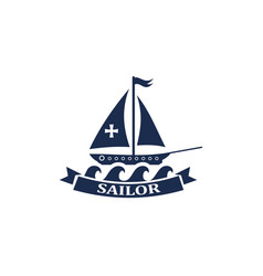 boat ship logo icon symbol pirate yacht sai vector image