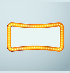 Bright glittering retro cinema bulb frame sign vector