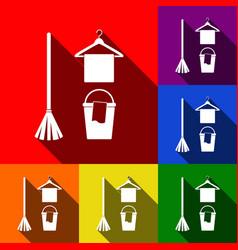 broom bucket and hanger sign set of vector image