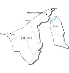 Brunei Black White Map vector image