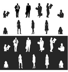 business men and women silhouette icon vector image