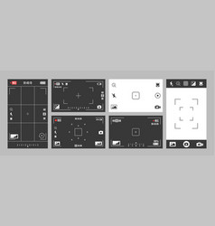 Camera viewfinder with exposure settings options vector