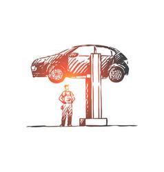 car repair auto service engine concept vector image
