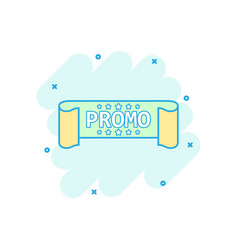 cartoon colored promo ribbon icon in comic style vector image