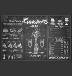 chalk drawing christmas menu design with champagne vector image