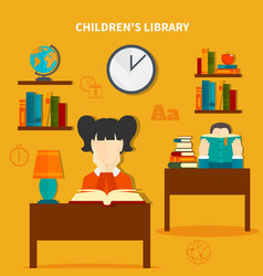 childrens library composition vector image