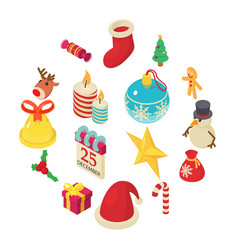 Christmas icons set isometric style vector