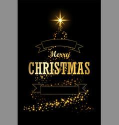 christmas tree card ribbon black background vector image