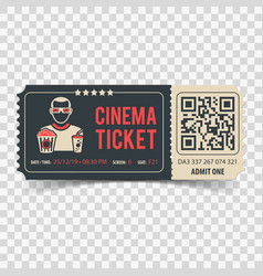 Cinema ticket with qr code vector