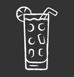 Cocktail in highball glass chalk icon summer icy vector