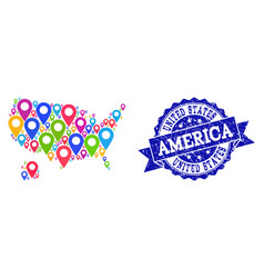 collage map of usa and alaska with map pointers vector image
