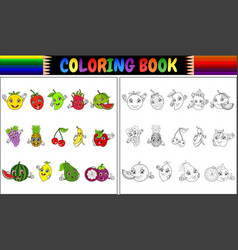 Coloring book with cute cartoon fruits vector