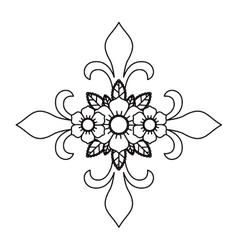 Cross and flower tattoo isolated icon design vector