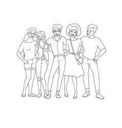 Diversity group of people hugs - hand drawn line vector