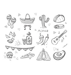 Doodle mexican food tequila red hot chili vector