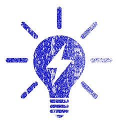 Electric light bulb grunge textured icon vector