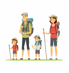 family goes camping - cartoon people characters vector image