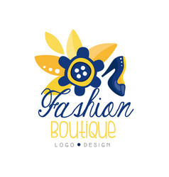 Fashion boutique logo design clothes shop dress vector