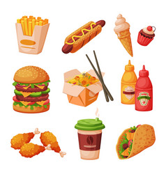 fast food dishes with drinks and desserts vector image