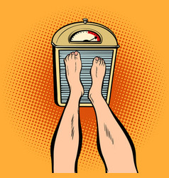 feet on the scales diet and weight vector image