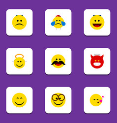 Flat icon face set of smile descant laugh and vector