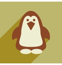 Flat web icon with long shadow penguin vector