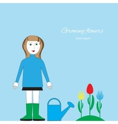 Floriculture picture Woman with watering can vector