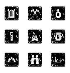 Forest icons set grunge style vector image