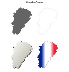 Franche-Comte blank detailed outline map set vector