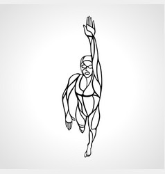 Freestyle woman swimmer silhouette crawl sport vector