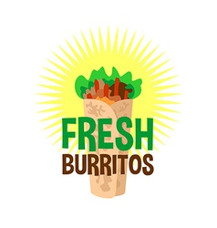 Fresh burrito logo Snack bar signboard vector