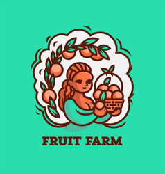 girl farmer with a basket fruit vector image