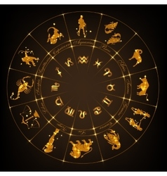 Gold horoscope circle vector