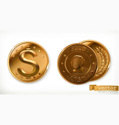 golden coins money 3d icons vector image