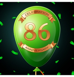 Green balloon with golden inscription eighty six vector image