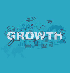 Growth website banner design concept vector